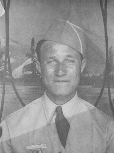 old damaged photo of american soldier